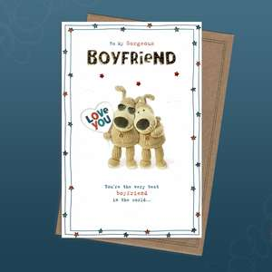 Boofle Boyfriend Birthday Card Alongside Its Kraft Envelope
