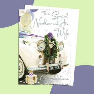 Nephew Wedding Car Card Alongside Its White Envelope