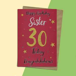 Sister Age 30 Birthday Card Alongside Its Gold Envelope