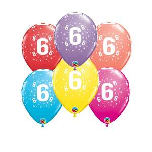 Image Of 6 Inflated Multicoloured Age 6 Latex Balloons