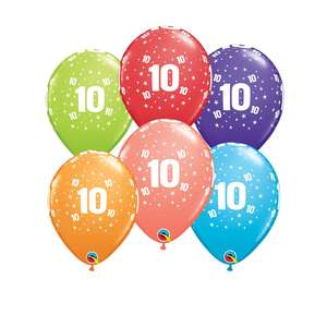Image Of 6 Multicoloured Age 10 Latex Balloons