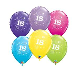 Image Of 6 Inflated Age 18 Multicoloured Latex Balloons