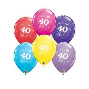 Image Of 6 Inflated Age 40 Multicoloured Latex Balloons