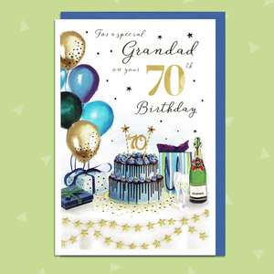 Grandad Age 70 Birthday Card Featuring A Birthday Table Full Of Cake, Balloons And Booze