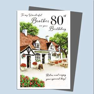 Brother 80th Birthday Card Featuring The Front Of A Public House