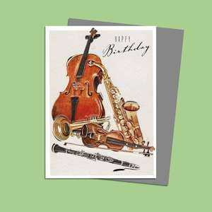 Musical Instruments Themed Birthday Card Sitting On A Display Shelf