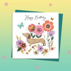 Sausage Dogs Highly Decorated Birthday Card Alongside Its Teal Envelope