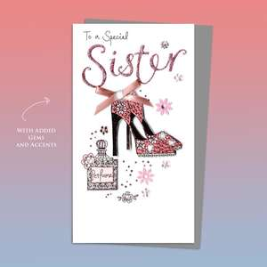 Sister Shoes And Perfume Birthday Card Alongside Its Silver Envelope