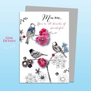 Mum Birds Themed Birthday Card Alongside Its Silver Envelope