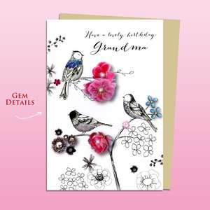 Grandma Birds In The Trees Birthday Card Alongside Its Ivory Envelope