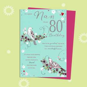 Nan On Your 80th Birthday Card Alongside Its Magenta Envelope