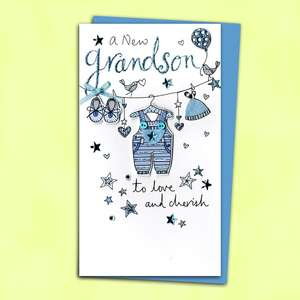 Birth Of Grandson Baby Card Alongside Its Blue Envelope