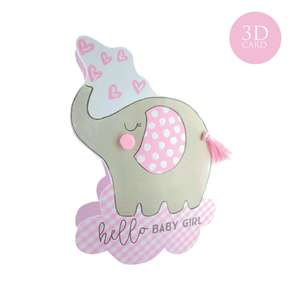 Baby Girl 3D Card Alongside Its Envelope