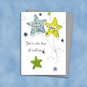 Thank You Card Design Alongside Its Silver Envelope