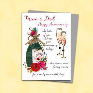 Mum And Dad Anniversary Card Complete With Silver Envelope