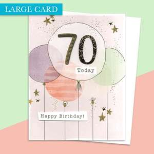 Age 70 Large Card Alongside Its White Envelope