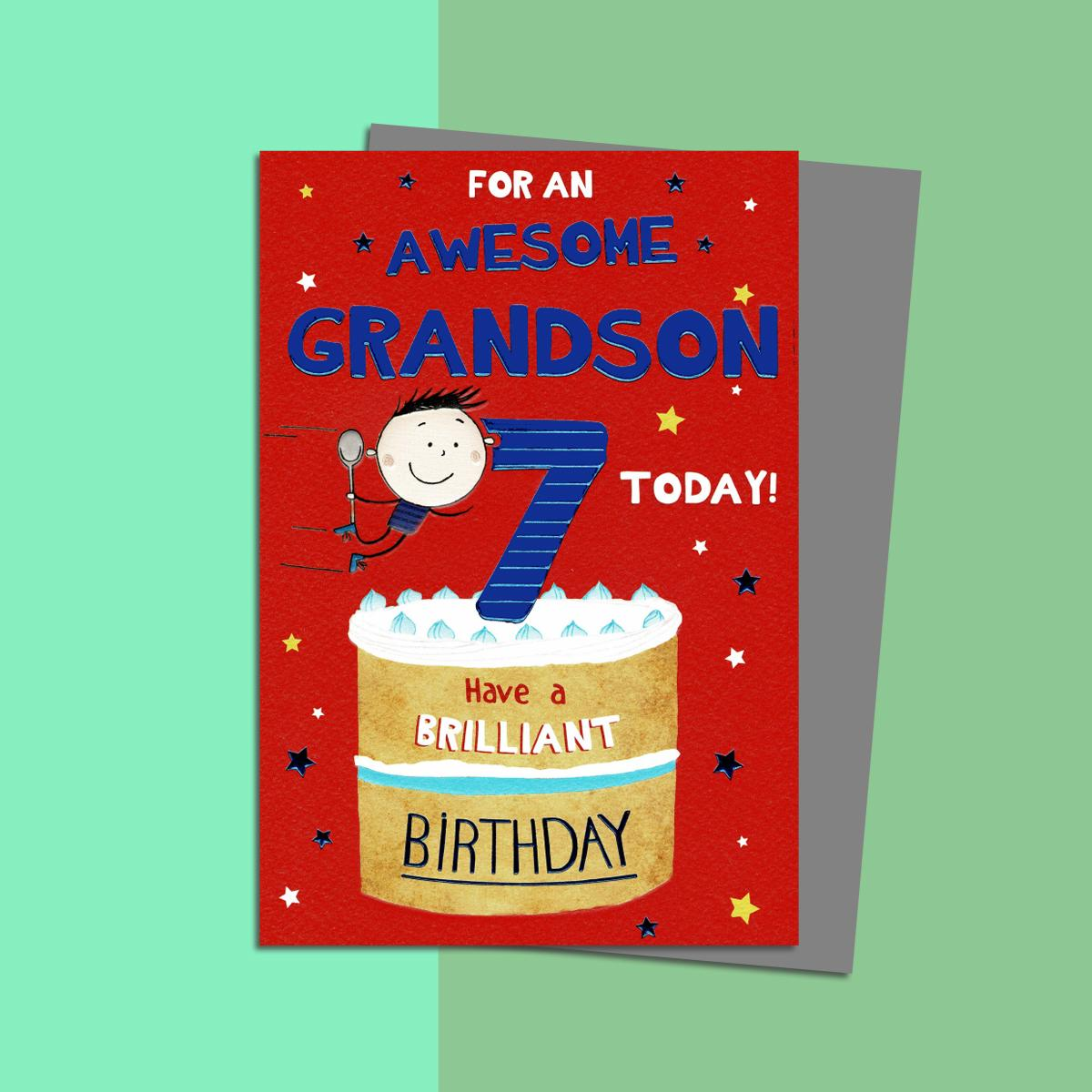 Grandson Age 7 Birthday Card Sitting On A Display Shelf
