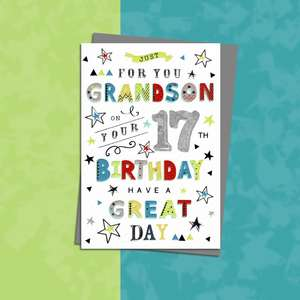 Grandson Age 17 Birthday Card Sitting On A Wooden Display Shelf