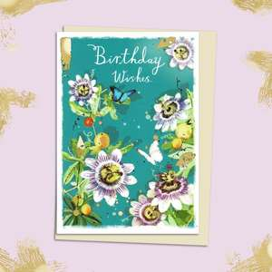 Passion Flower Themed  Birthday Card Sitting On The Shelf