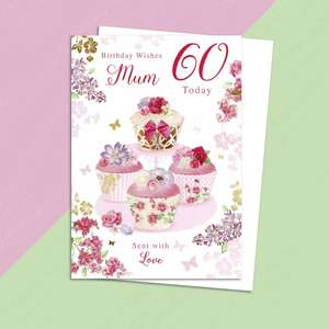 Mum 60th Birthday Card Alongside Its White Envelope