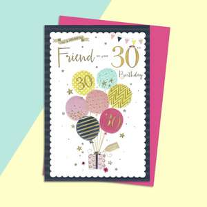 Friend Age 30 Birthday Card Complete With Magenta Envelope