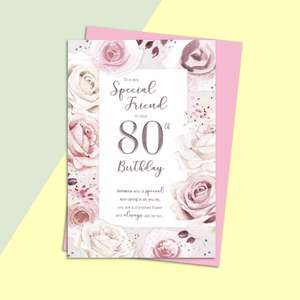 Friend Age 80 Birthday Card Alongside Its Light Pink Envelope