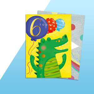 Age 6 Crocodile Themed Birthday Card Alongside Rainbow Envelope