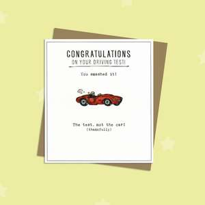 Driving Test Congrats Greeting Card Alongside Its Kraft Envelope