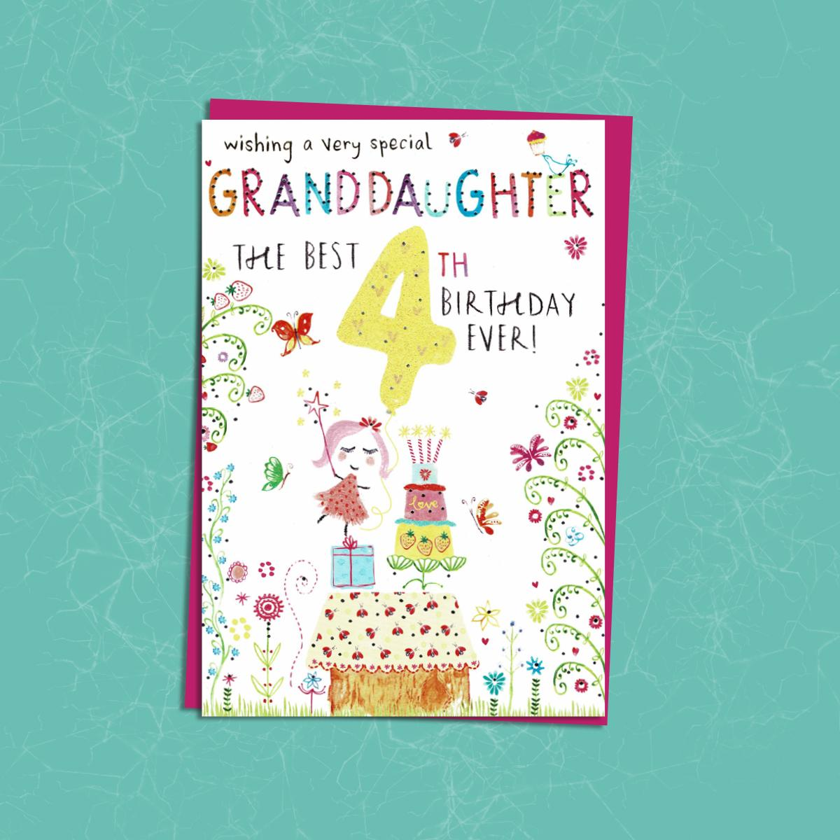 Granddaughter Age 4 Birthday Card Sitting On A Display Shelf