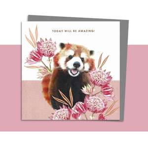Red Panda Blank Card Alongside Its Dark Grey Envelope