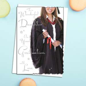 Daughter Graduation Greeting Card Alongside Its White Envelope
