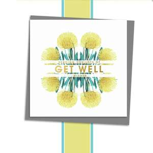 Get Well Soon Floral Design Alongside Its Dark Grey Envelope