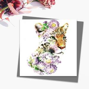 Floral Leopard Blank Card Alongside Its Dark Grey Envelope
