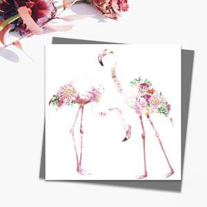 Two Flamingos Blank Card Alongside Its Dark Grey Envelope