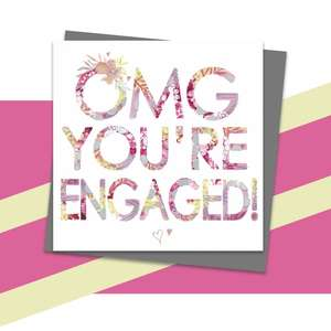 Engagement Greeting Card Alongside Its Dark Grey Envelope