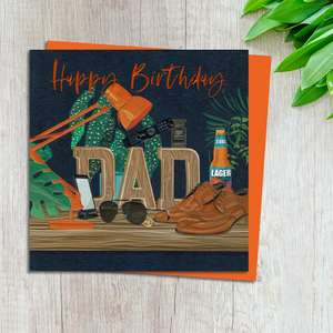 Dad Birthday Card Design Complete With Neon Orange Envelope