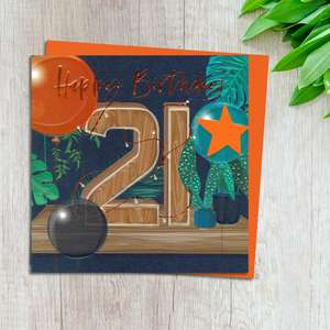 Age 21 Birthday Card Complete With Neon Orange Envelope