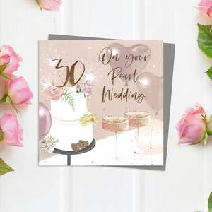 Pearl 30th Wedding Anniversary Card With Embellishments Complete With Grey Envelope