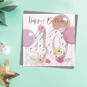 Happy 40th Birthday Card With Embellishments In Pastel Colours. Complete With Co-Ordinating Grey Envelope