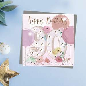 Happy 80th Birthday Flowers And Balloons Design With Embellishments. This Stunning Card Is Completed With Gold Foil lettering And A Co-Ordinating Grey EnvelopeWith