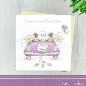 Congratulations Mrs And Mrs Wedding Day Card By Berni Parker Designs. Showing Two Brides In Their Wedding Car. Finished With Silver Foil Accents And An Ivory Envelope