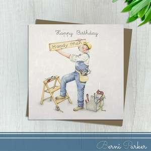 Showing A Man In Overalls Up A Ladder. Caption: Happy Birthday Handy Man. Blank inside For Own message. Complete With Brown Kraft Envelope