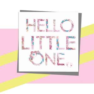 Hello Little One Featuring The Letters In Pink And Blue Print With Silver Foiled Detail And Floral Enhancement. Finished With Dark Grey Envelope And Blank for Own Message