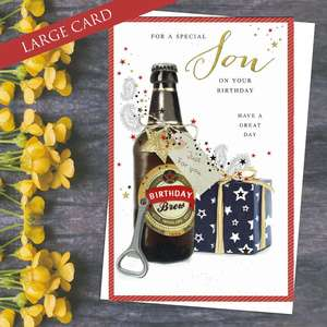 For A special Son On Your Birthday Card Depicting A Bottle Of Beer And Gift. Completed With Gold Foil Lettering And White Envelope