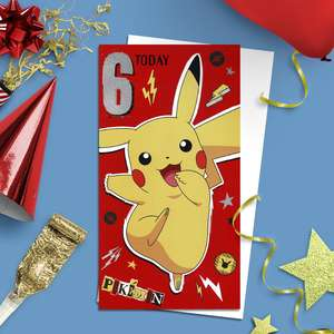 Pokémon Age 6 Birthday Card Alongside Its White Envelope