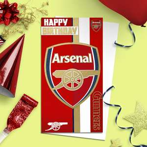 Arsenal Football Club Football Birthday Card Alongside Its White Envelope