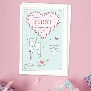 1st Anniversary Card Featuring A Rose Gold Love Heart