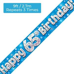 Age 65 Blue And Silver Holographic Birthday Banner Displayed