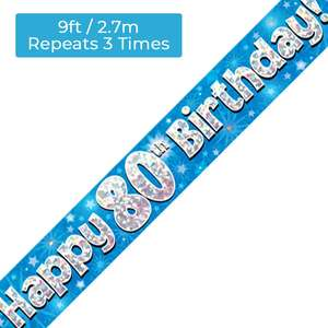 Age 80 Blue And Silver Birthday Banner Displayed
