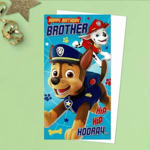 Happy Birthday Brother Hip Hip Hooray Featuring Paw Patrol Puppies Marshall And Chase. Vibrant Colour  With Silver Foil Detail. Complete With White Envelope